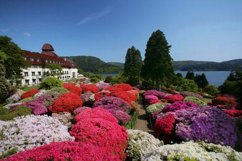 山のホテルの外観と庭園のツツジ