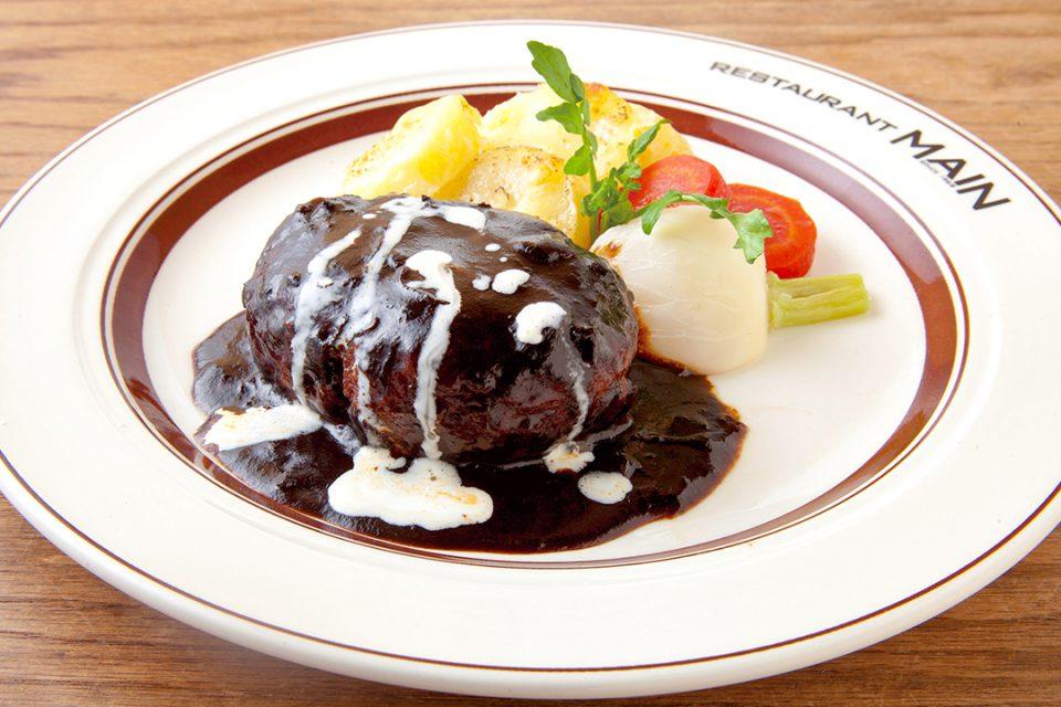 レストランメインのハンバーグステーキ