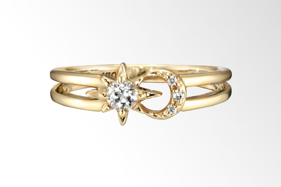 CROSSING STAR & MOON PINKIE RING