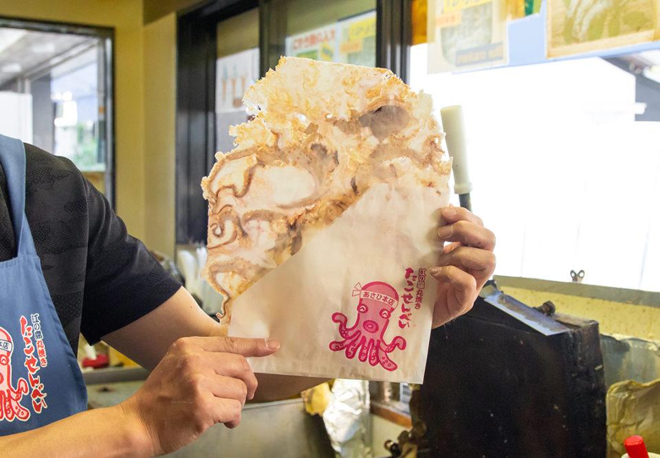 あさひ本店の丸焼きたこせんべいの作り方4