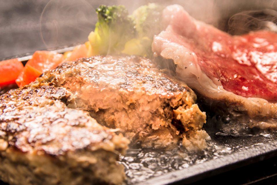 四季彩の米沢牛サーロインステーキと米沢牛スパイシーハンバーグセット