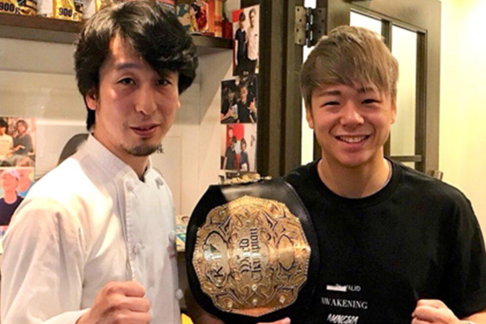 店主とK-1チャンピオン武尊選手