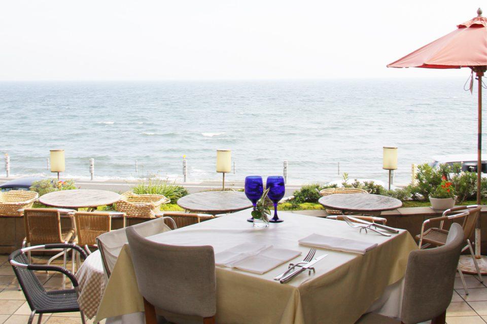 リストランテアマルフィの海の見えるテラス席